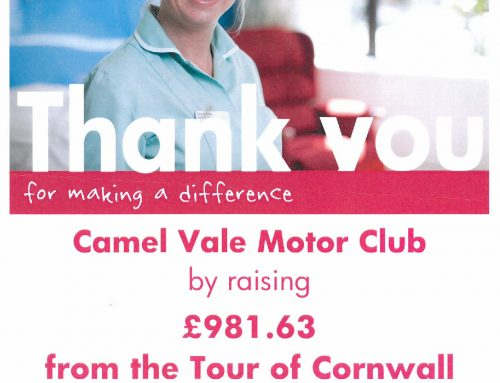 £981 raised from Tour of Cornwall Rally